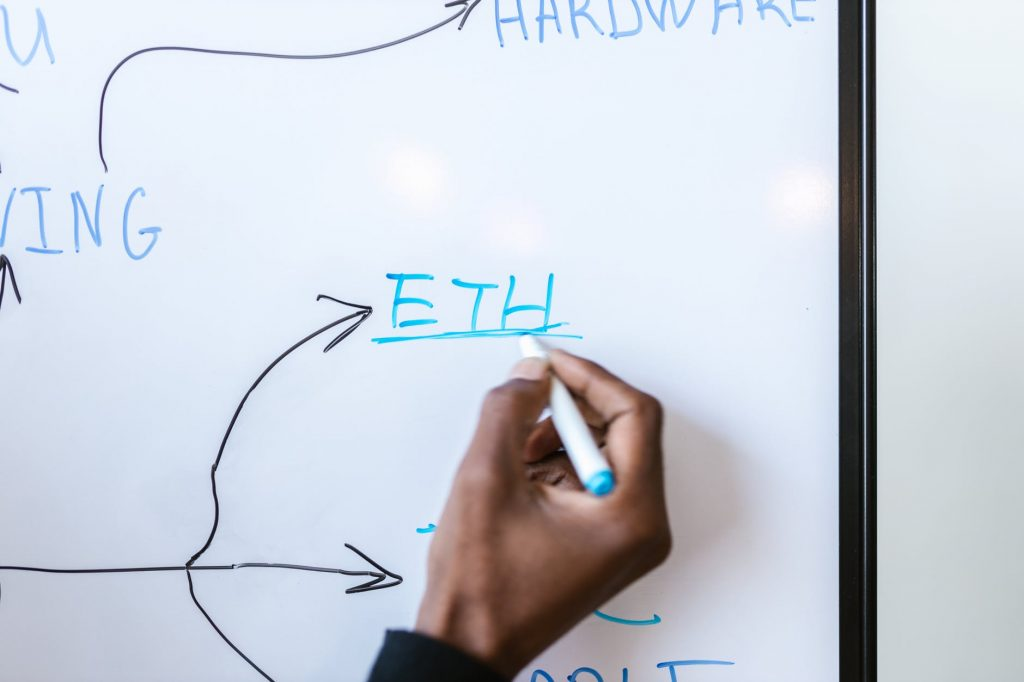 a person writing on a white board