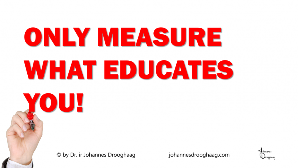 Only measure what educates you - anything else is akin to measuring the amount of days since the last dinosaur sighting.