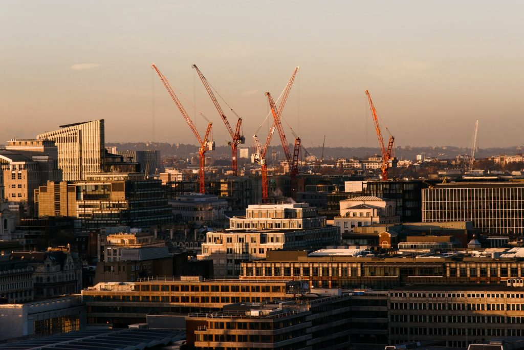 modern buildings under constructions in city